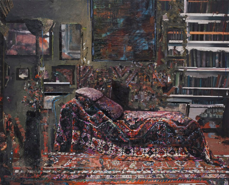 Der psychoanalytiker (Freud's couch) 120x150 cm acrylics, enamel, sand on canvas on woodpanel
