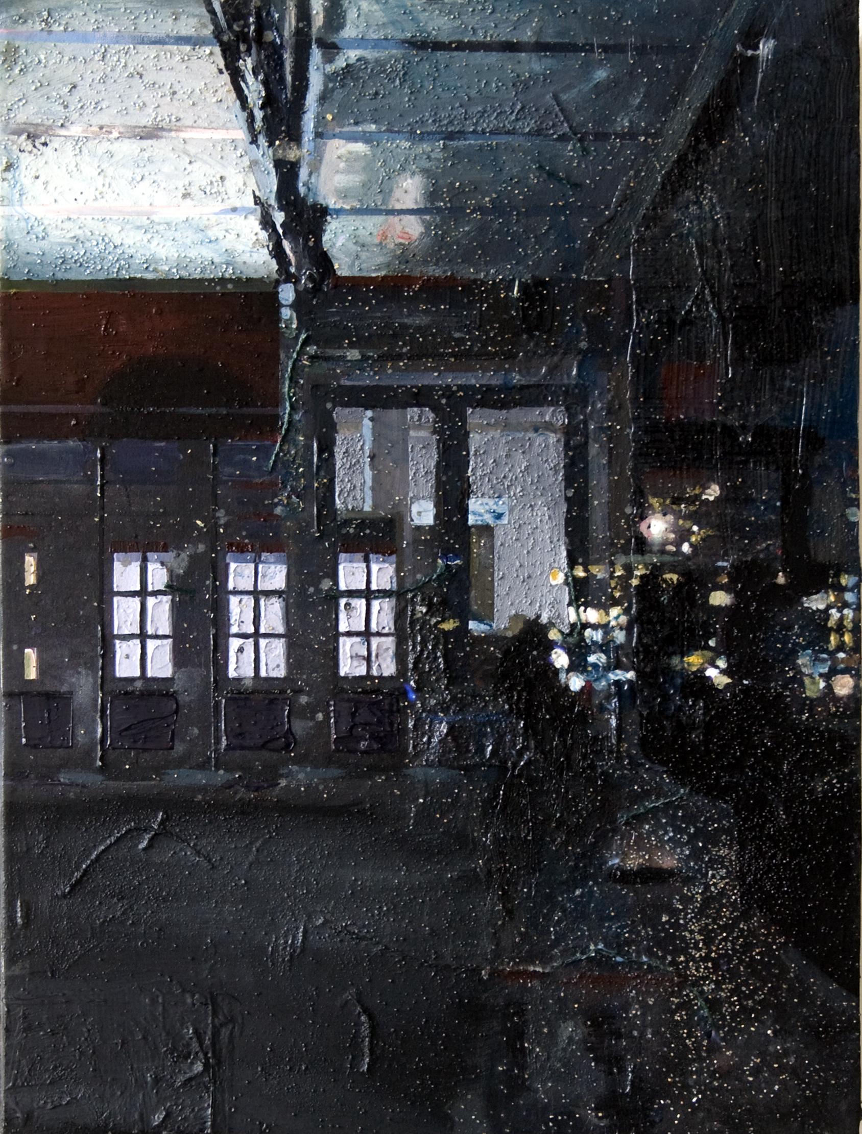 n.t 69x51 cm acrylics, enamel, sand on canvas on woodpanel