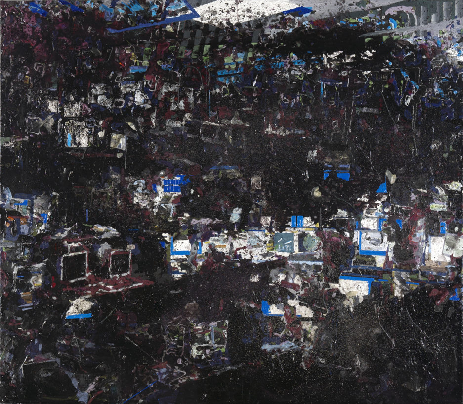 Control room 132x151 cm acrylics, enamel, sand on canvas on woodpanel