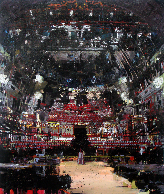 Theater 250x211 cm acrylics, enamel, sand on canvas on woodpanel