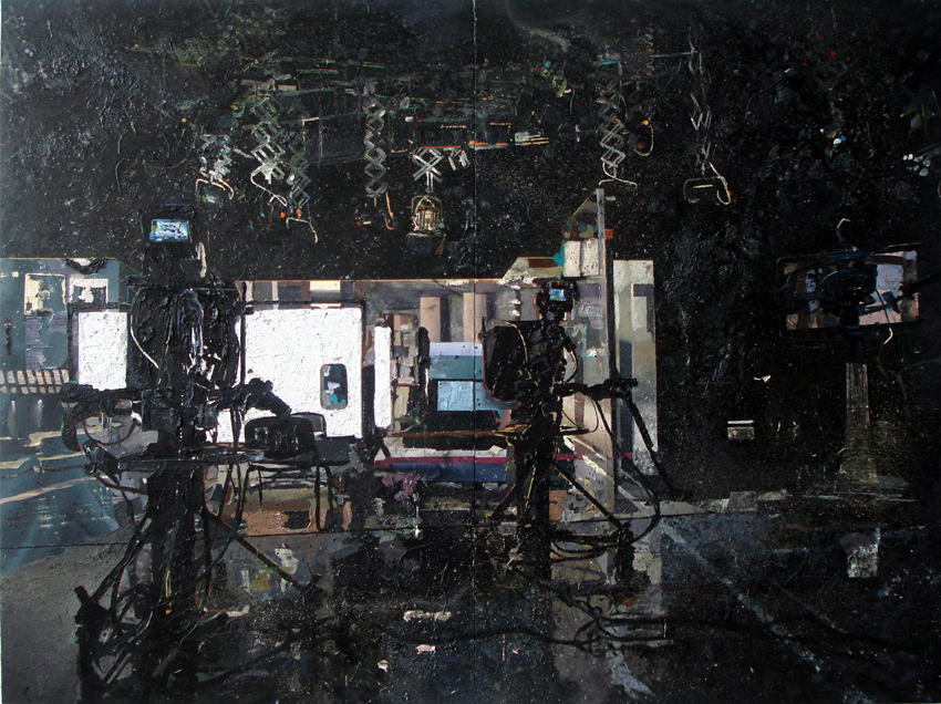 T.V studio 210x280 cm acrylics, enamel, sand on canvas on woodpanel