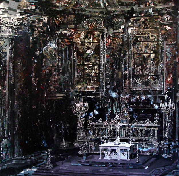 Stock exchange 282x405 cm acrylics, enamel, sand on canvas on woodpanel