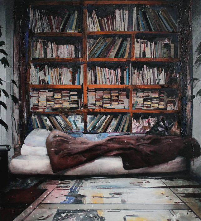 The reader (S.Huizenga) 200x150 cm acrylics, enamel, sand on canvas on woodpanel