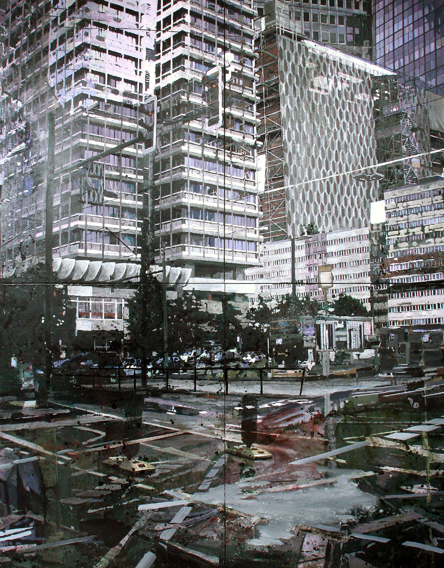 n.t 315x240 cm acrylics, enamel, sand on canvas on woodpanel