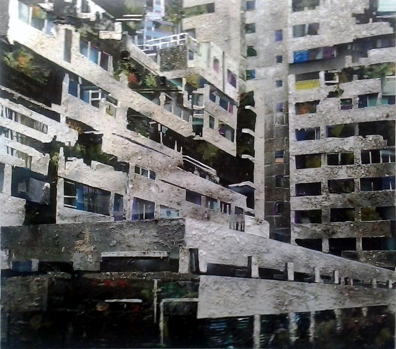 Het verbond revisited 200x220 cm  acrylics, enamel, sand, stone on canvas on woodpanel
