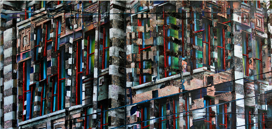 fassade 100x220 cm acrylics, enamel, sand, stone on canvas on woodpanel