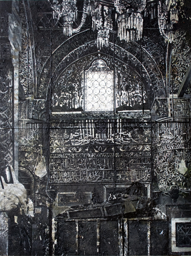 Mosque 350x260 cm acrylics, enamel, sand on canvas on woodpanel