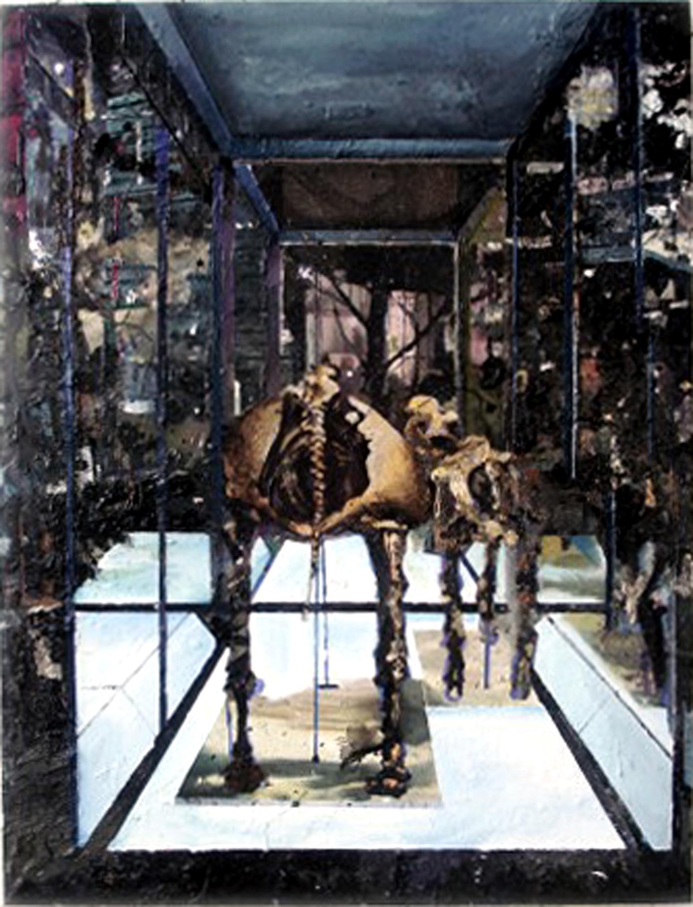 Museum V 150x114 cm acrylics, enamel, sand on canvas on woodpanel