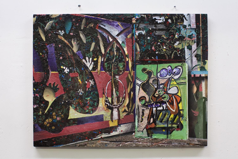La muse acrylics, sand, plaster, enamel on canvas on wood panel