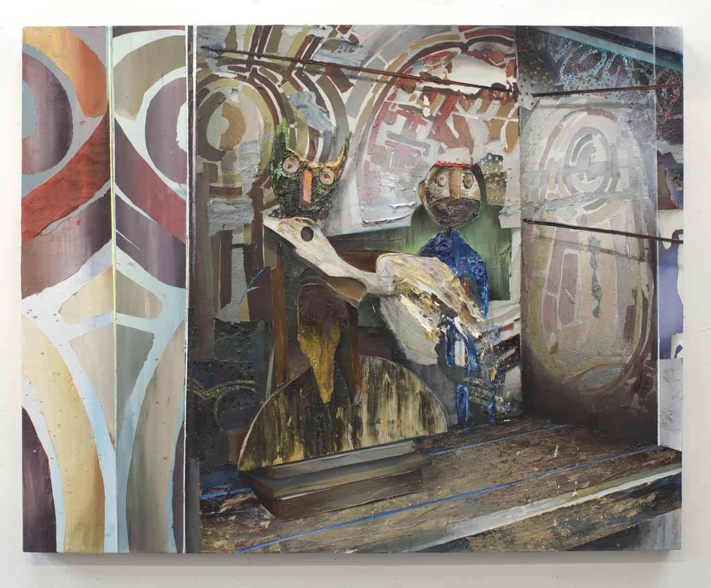 The curators 120x150 cm acrylics, plaster, sand on canvas on wood panel