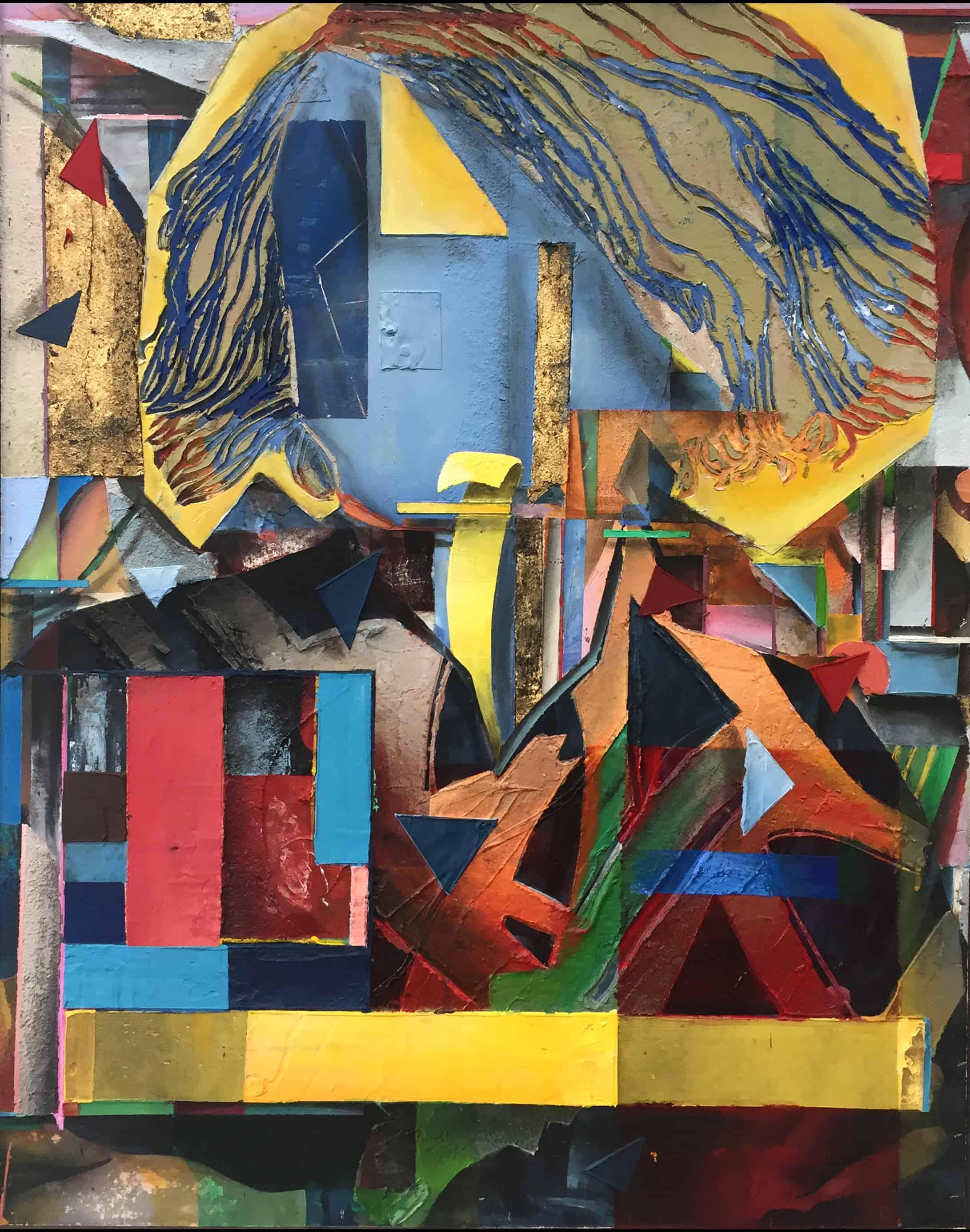 Michel Houellebecq 99x80 cm acrylics, sand, plaster on canvas on wood panel