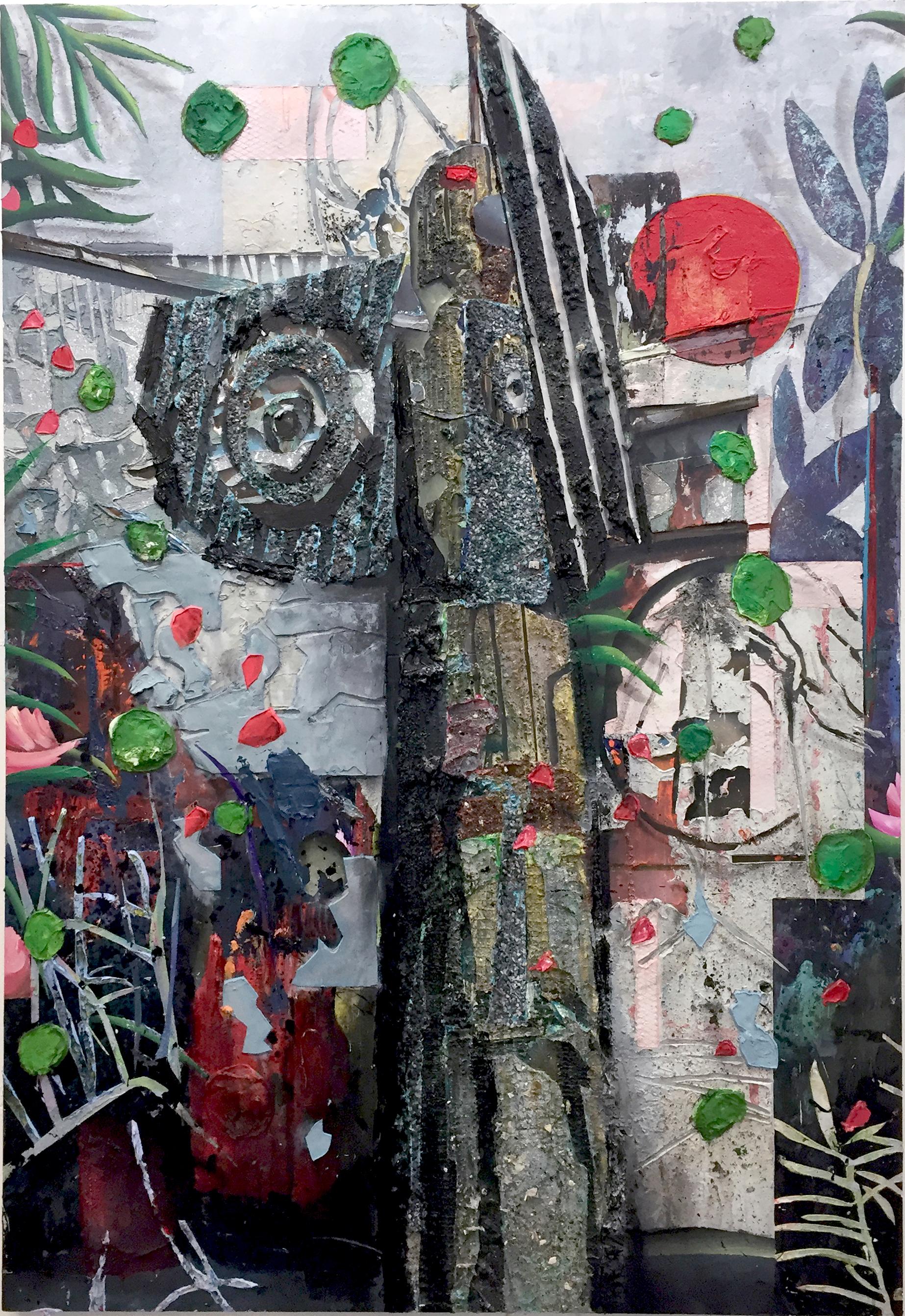 Totem 180x 22 cm acrylics, plaster, dirt, stone on canvas on wood panel
