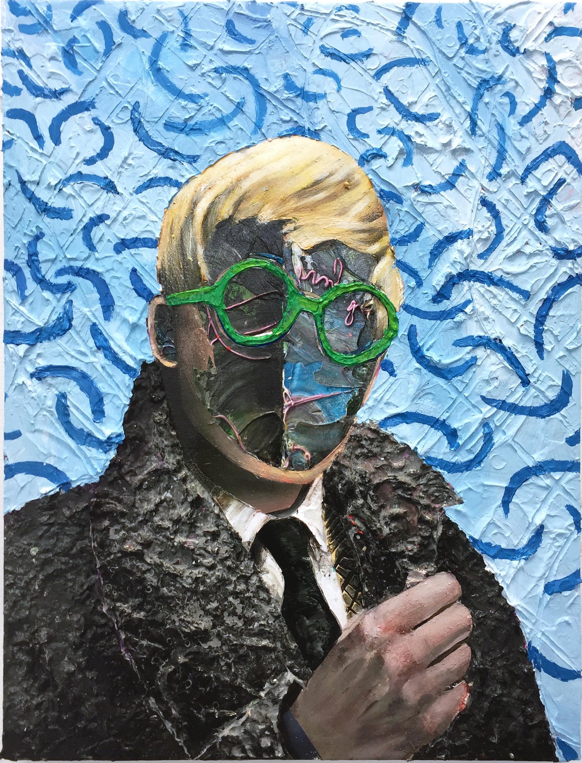David Hockney 60x40 cm acrylics,sand,plaster on canvas on wood panel