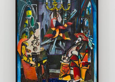 Beckmann Picasso - 15 - acrylics sand plaster dirt on canvas on wood panel