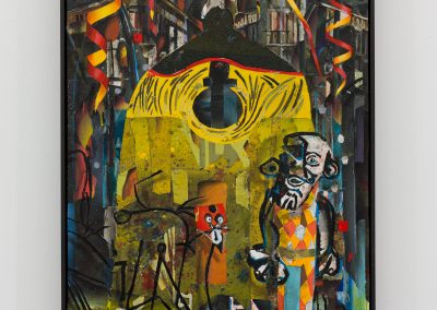 Beckmann Picasso - 16 - acrylics sand plaster dirt on canvas on wood panel